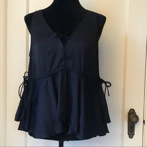 FREE PEOPLE Black Ruffle Tank With Tie Waist Small